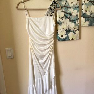 High Low White Homecoming Dress